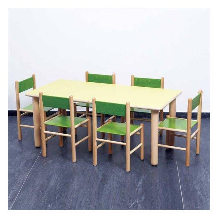 Tavolo Rettangolare Verde 6 Sedie Verdi Infanzia